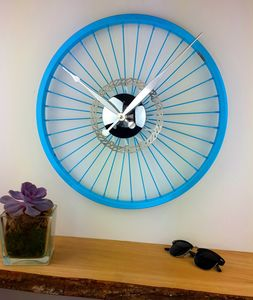 Blue Bike Wheel Clock With Brake Disc - birthday gifts