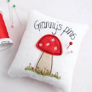 Personalised Toadstool Pin Cushion - sewing & knitting