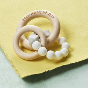 Theo Rattle Teether With Birch Ring - personalised