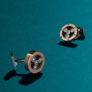 Mechanical Gear Cufflinks Rose Gold - men's accessories
