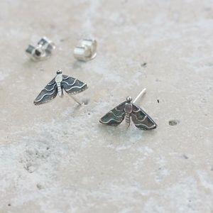 Anna's Majestic Moth Silver Stud Earrings - earrings