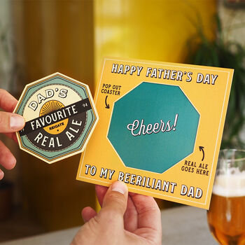 Personalised Pop Out Beer Mat Father's Day Card
