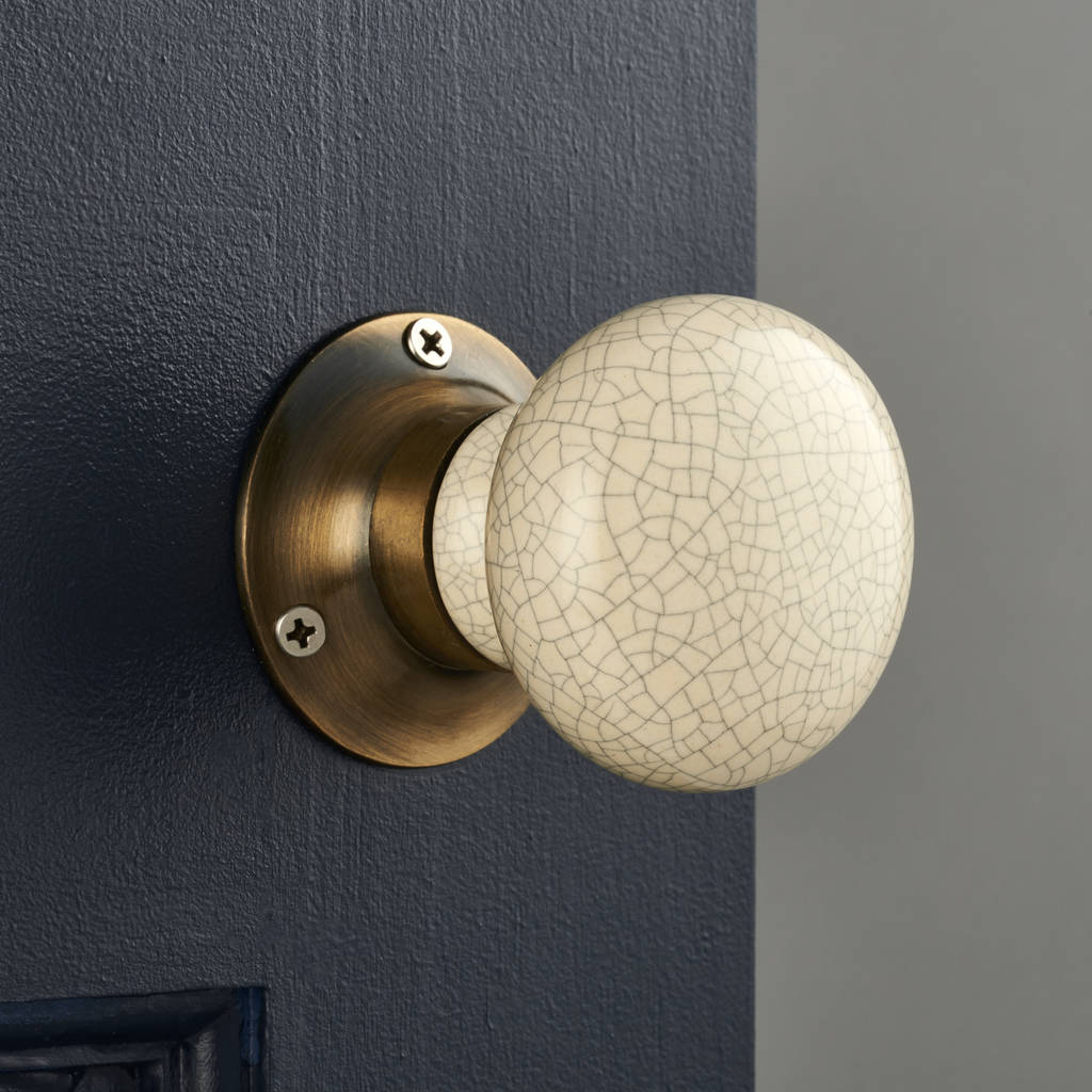 Antique Cream Crackled Internal Mortice Door Knobs By