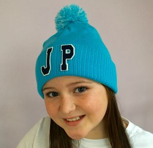 Personalised Blue Bobble Hat With Initials - mens