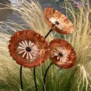 Set/Three Pleated Copper Flowers