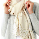 Womens Cocktail Hour Sequin Scarf, Mosaic Cream