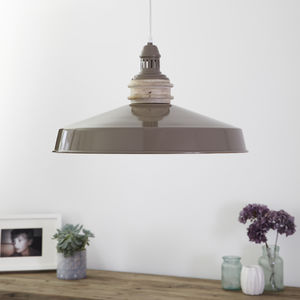 Taupe Metal Saucer Pendant Light - pendant lights