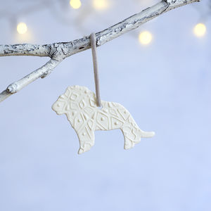 Porcelain Christmas Lion Decoration