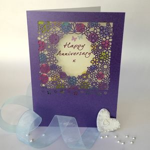 Anniversary Delicate Cut Flower Card - shop by category