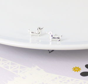 Sterling Silver Sausage Dog Dachshund Earrings - earrings