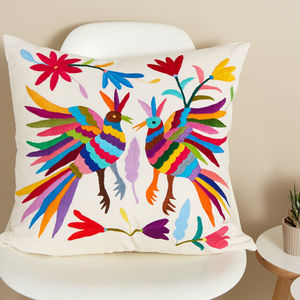 Large Otomi Cushion Fair Trade From Mexico - bedroom