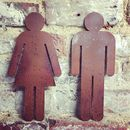 Rusted Metal Ladies And Gentlemen Toilet Door Signs