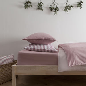 Plain Jacquard Dusty Pink Reversible Fitted Sheet - bed, bath & table linen