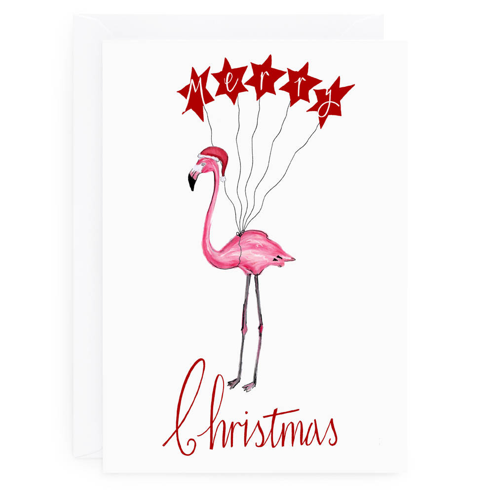 Flamingo Christmas Card By De Fraine Design London