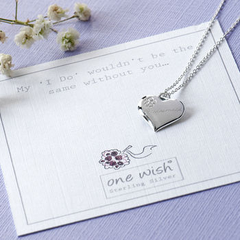 Engraved Bridesmaid Heart Sterling Silver Necklace