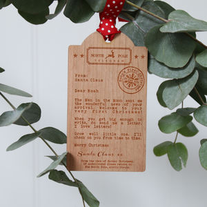 Bespoke Baby's First Christmas Wooden Tag Decoration - ribbon & wrap