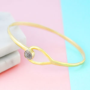 18 K Gold Vermeil Genuine Rough Diamond Teardrop Bangle