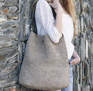 'Sicily' Hand Crocheted Raffia Shoulder Tote - womens