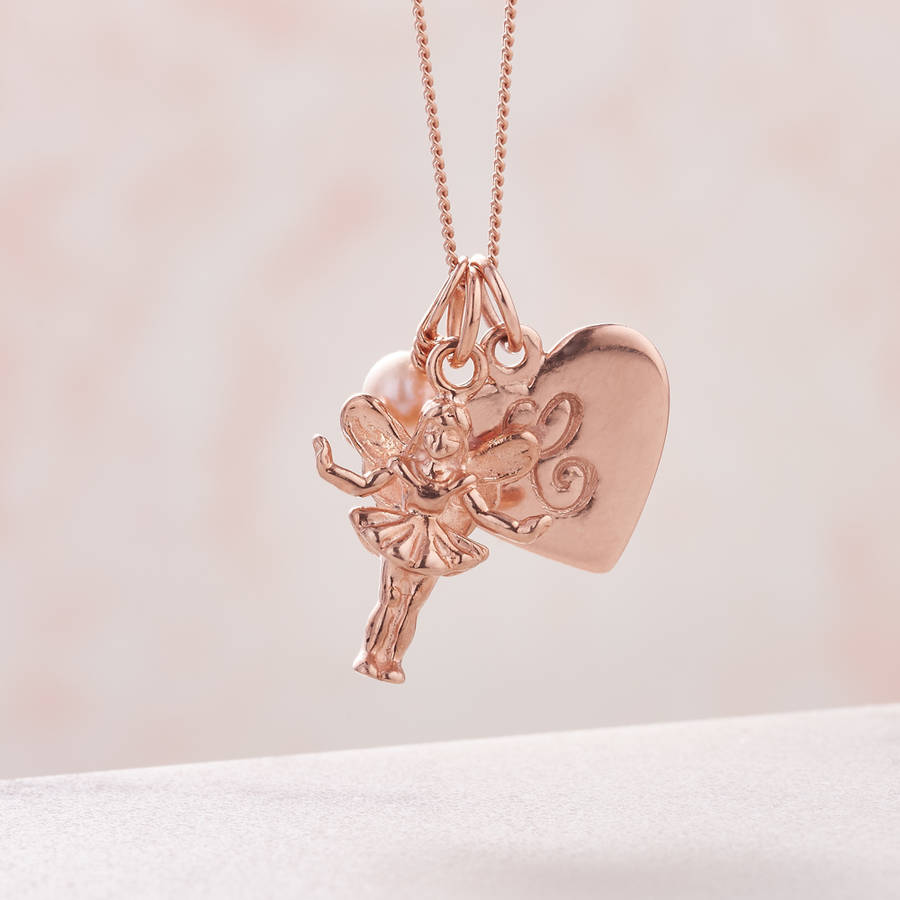 Rose gold fairy godmother personalised necklace by claudette worters rose gold fairy godmother personalised necklace pink fresh water pearl aloadofball Gallery