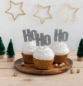 ho ho ho christmas cake cupcake topper decorations