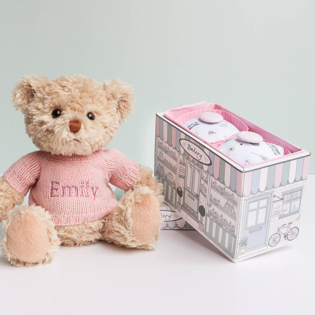 Personalised Bertie Bear With Two Pyjama Cupcakes, Pink