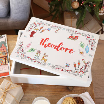Personalised Vintage Toy Print Wooden Christmas Eve Box