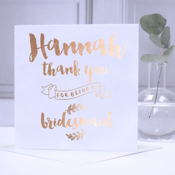 Copper Foil Personalised Bridesmaid Thank You Card