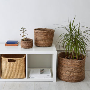 Handwoven Banana Fibre Basket - living room