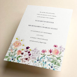 English Summer Meadow Wedding Invite