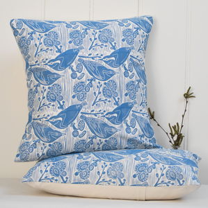 Nuthatches And Willow Block Printed Cotton Cushions