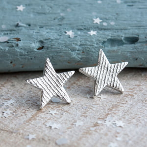 Textured Silver Star Stud Earrings