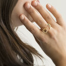Gold Moon And Goldstone Sun Adjustable Ring