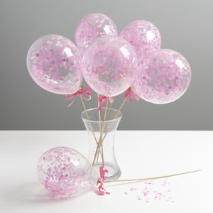 Set Of Six Shades Of Pink Mini Balloon Wands - room decorations