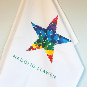 Nadolig Llawen, Bright Star, Tea Towel - kitchen linen