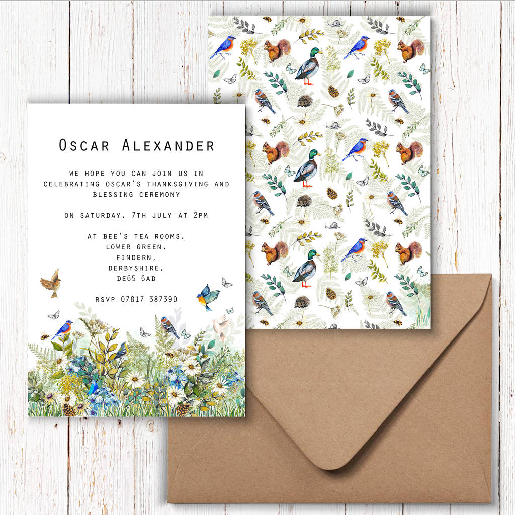 children s woodland birthday invitations by charlotte duffy design