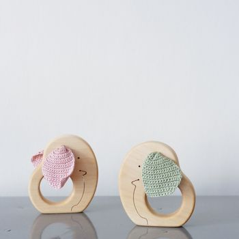 Wooden Elephant Tactile Teething Baby Toy