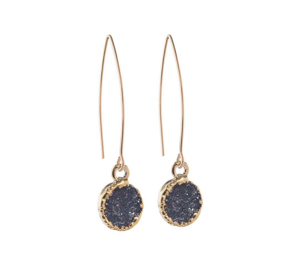 Mini Circle Drusy Crystal Dropper Earrings