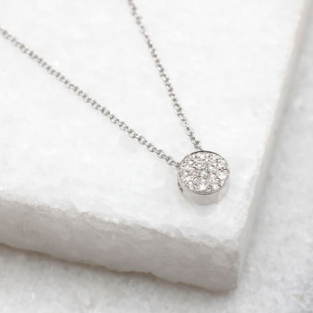 Diamond And 18ct White Gold Floating Disc Pendant