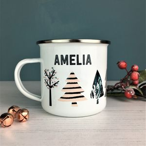 Cool Nordic Christmas Tree Enamel Mug - table decorations