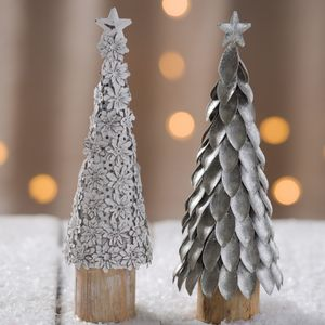 Decorative Metal And Wood Christmas Trees - snow globes & ornaments