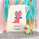 Wooden Dragon Pul Back Figure And Personalised Gift Bag