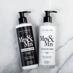 Personalised Mrs And Mrs Hand Wash And Lotion Gift
