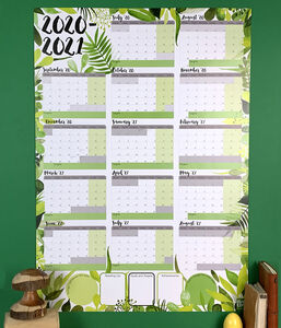 Giant 2020 To 2021 Academic Botanical Wall Planner