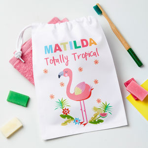 Girls Personalised Flamingo Wash Bag