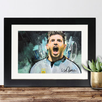 Official Sergio Agüero Framed Print By Sidney Maurer