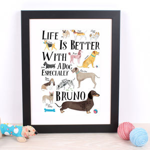 Life Is Better With A Dachshund Personalised Print