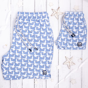 Father And Son Matching Ice Blue Seagulls Swim Shorts - clothing