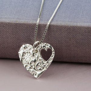 Silver Floral Heart Pendant With Cut Out Heart - necklaces & pendants