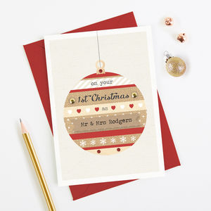1st Married Christmas Card Red Bauble Couple