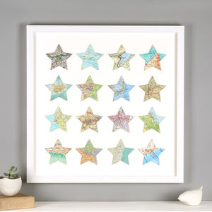 Sixteen Personalised Map Location Star Print - posters & prints